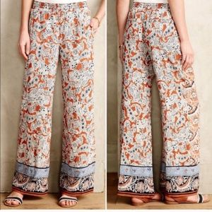 Anthropologie HeiHei Palazzo Printed Flowy Pants